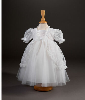 Pale Ivory Short Sleeve Christening Dress Traditional Lace Age 3-6M Rrp £91.99