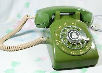 Vtg May 1963 GREEN Rotary Dial Telephone Western Electric 500 Restored Works!