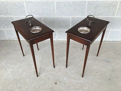 Antique Mahogany Hepplewhite Style Pipe Smokers Tables - A Pair