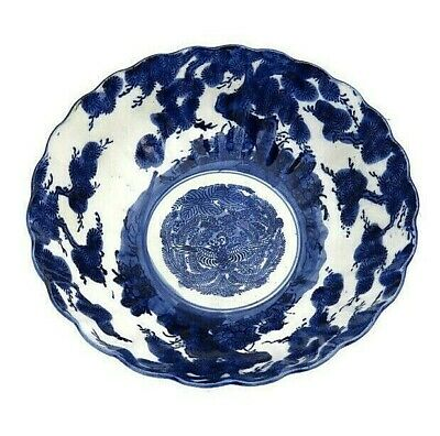 Meiji Period Japan Arita Imari Karako Blue White Bowl Ceramic Late 1800s 8.5'' D