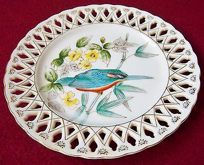 """Lattice Plate With Bird Hand Painted No Markings Collector Plate 7 1/4"""""""