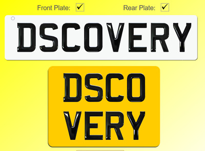 Discovery Number Plates Pair 3D Gel Gloss Black Pair Road Legal Square & Oblong