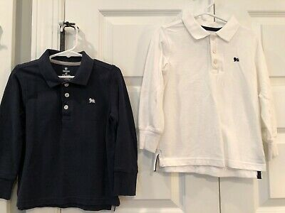 Boy's 2pc lot Old Navy Long Sleeve Polo Style Shirts Navy / White Size 4T
