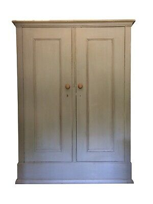 Large Antique Wooden Painted Grey Housekeeper's School Hall Cupboard Wardrobe