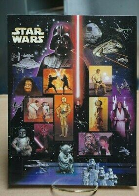 Star Wars US Postage Stamp Sheet 15 .41 Cent Stamps 2007 Movie Chacartors Mint