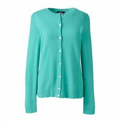 soft new 100% CASHMERE button CARDIGAN by Lands End turquoise jade small bnwt