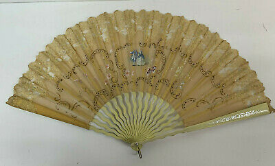 Antique Fan 19th c Hand Painted Gauze sequins