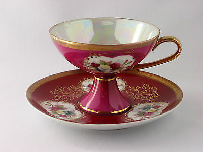 Vintage 1950's Shafford iridescent fine china Cup & Saucer Japan