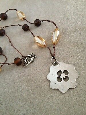 Flower Power Hippy Chick Silver Flower Wood And Carnivalglass Beads Awesome Neck