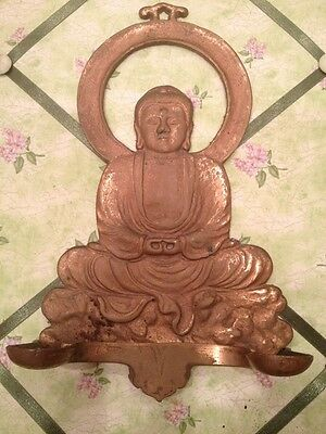 ANTIQUE Hand Crafted Casted Brass Lord Budda OFFERING PLAQUE VERY OLD