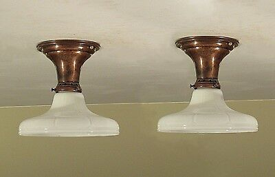 RESTORED! Pair of Antique Brass Light Fixtures 1920 Ribbed Milk Glass Shades