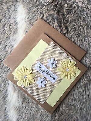 Handmade Birthday Card - Yellow And White Flower Embellishments Women/girls