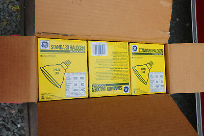 Box of 12 - GE 100W Halogen Sealed Beam Floodlight Lamps 100PAR/H/L.