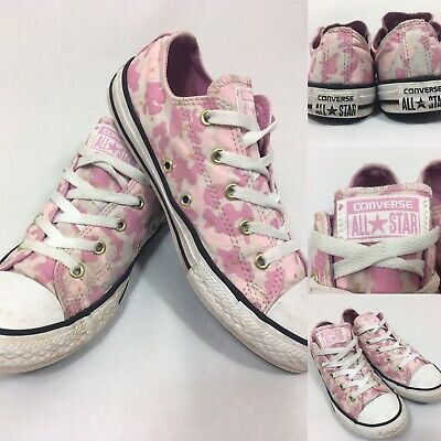 UK3 Girls Pink/White/Gold Converse All Star Canvas Camo Retro Style Trainers