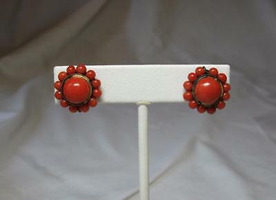 Natural Red Coral Earrings Victorian Silver Gilt Wedding Engagement Art Deco