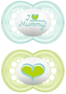 MAM CHOICE OF COLOUR I Love Mummy /& I Love Daddy Soother Twin Pack 6m A106