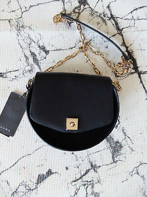 Zara Bloggers Black Messenger Cross Body Leather Shoulder Bag Handbag Gold Chain
