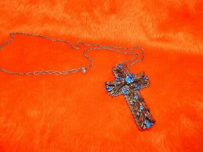 Vintage Silver Tone Blue Gemstone Cross Pendant Necklace-Rare