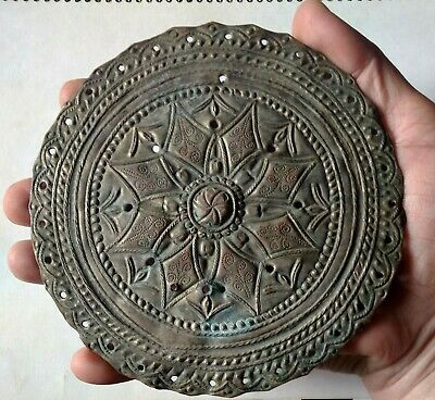 Ancient Byzantine  bronze silvered ornament/adornment hand carved details