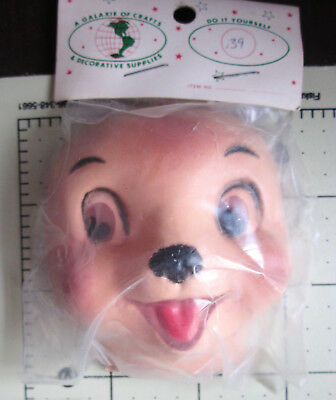 Lot 6 Panda Bear Celluloid Plastic Doll Masks Faces Craft Animal Doll Making VTG