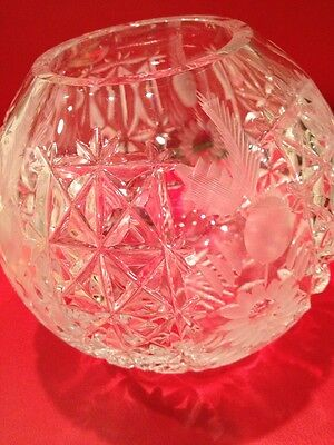 Dreseden Crystal HAND Cut Rose Bowl Over Fifty Years Old Stunning DREAM PIECE
