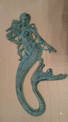 Beautiful Large Cast Iron MERMAID Nautical Wall Hanging Sculpture Plaque