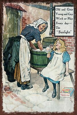Sunlight Soap Advert Aged Vintage Retro style Metal Sign, laundry, washing