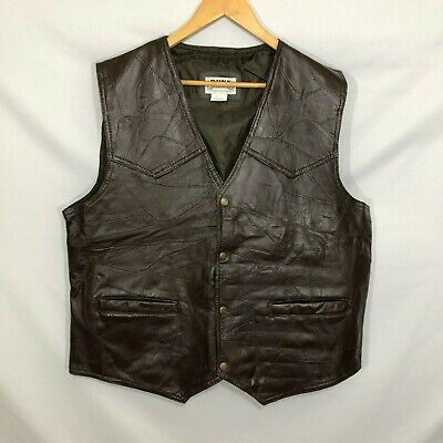 Duke Haband Dark Brown Leather Vest Large Patchwork Snap Pockets Western