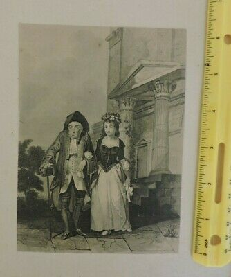 Vintage antique Lithograph late 1800's, early 1900''s 18th century couple