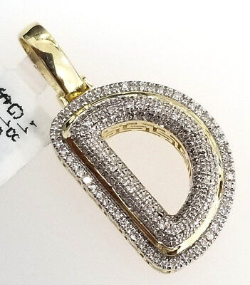Real 10K Yellow Gold Bubble Letter Initial D Iced Genuine Diamond Pendant Charm