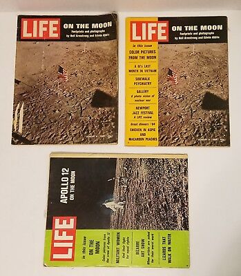 "Life Magazine Lot Of (3) ""On The Moon"" Moon Landing Apollo 11 Apollo 12"