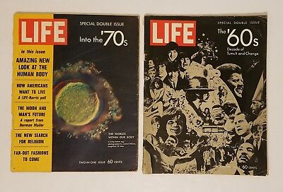 LIFE MAGAZINE LOT OF (2) INTO THE 1970s 1960s SPECIAL DOUBLE DECADE ISSUES