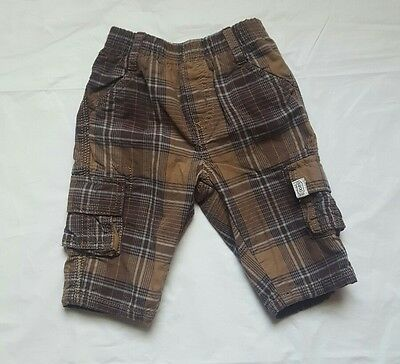 Childrens Place Baby Boy Size 3 6 months Cargo Shorts  Plaid Brown  Lined   98