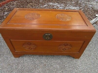 Vnt Asian Carved wood chest trunk coffee table Chinese storage Oriental decor