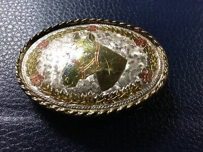 Vintage W USA Women's Gold Tone Oval Horse Belt Buckle