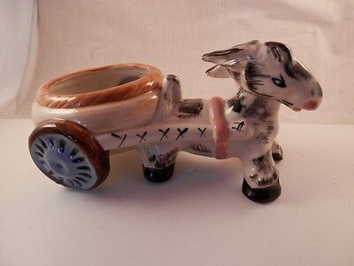 Donkey planter Occupied Japan 1940's  Rare round cart