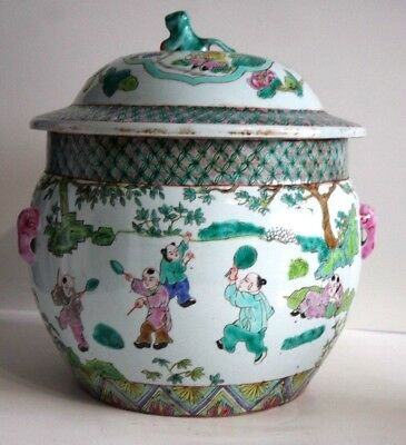 Antique 18-19 C Chinese Famille Rose Large Jar With Elephant Handles/ Marked