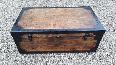 Antique Steamer Trunk, English, Pine, Metal Lined, Chest, Est. Edwardian c1910
