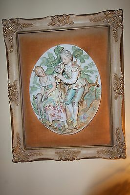 Vintage  Dresden Bisque Hand Painted Relief Framed  Wall Plaque / Hanging #