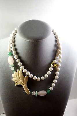 Vintage Hand Carved Chinese Export White Agate. Jade, Rose Quartz Bead Necklace