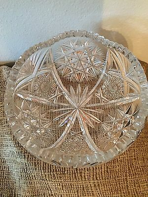 """Abp Large American Brilliant Period Cut Crystal Glass 8"""" Low Bowl Unsigned"""