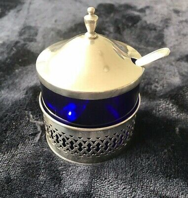 Antique Sterling Silver And Blue Glass Mustard Pot With Spoon
