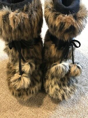 G by Guess Black Boots with Animal Faux Fur Girls Size 11.5
