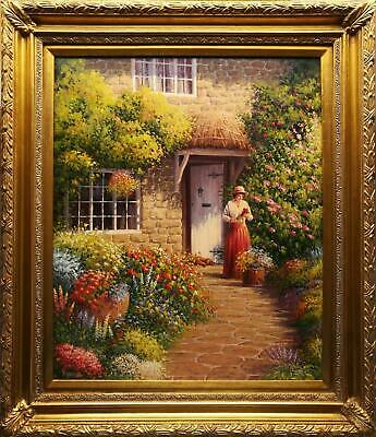 Ron Moseley Signed Original Oil Painting Canvas, Cottage Garden In Flower Framed