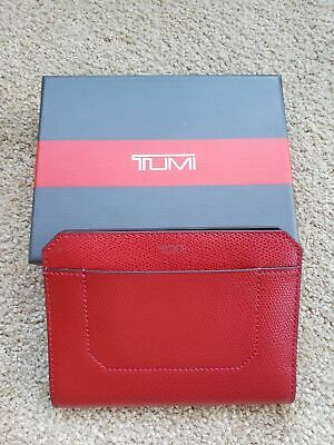 NEW TUMI CAMDEN SLG PASSPORT CASE RFID ID LOCK PROTECTION Red Leather