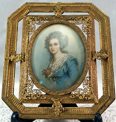 Antique French Miniature Portrait Painting Signed Dupre In Ormolu Filigree Frame