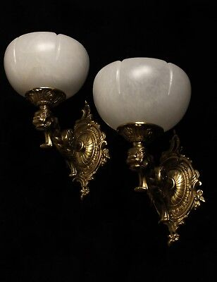 Pair of solid bronze & white real alabaster wall lights sconces with lion head