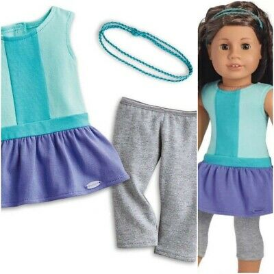 NEW American Girl Color Block Dress Outfit with Leggings Headband