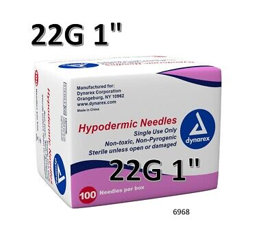 "Dynarex Hypodermic Sterile Needles 100CT ,22G 1"" O6968"