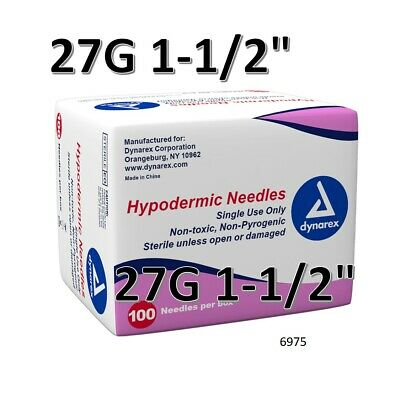 "Dynarex Hypodermic Sterile Needles 100CT ,27G 1-1/2"" O 6975"